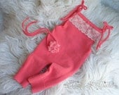 Newborn Baby Girl Upcycled Romper Newborn Photo Prop Set - Coral Pink OOAK and RTS