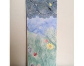 Clouds, Stars Nature Art Tile, Flower Ceramic plaque, Bright colours Pottery Tile.