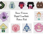 Steven Universe SU Portrait cross stitch embroidery digital pattern garnet