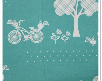 2 yards Available-Price is per yard-Cruzin by Barbara Jones of QuiltSoup for Henry Glass & Co. bikes, trees, birds, teal blue white