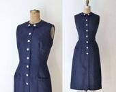 1950s Linen Wiggle Dress / 50s Navy Blue Dress
