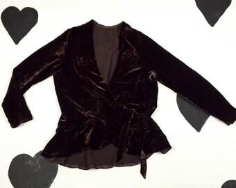 1920's 1930's velvet wrap shirt jacket 20's 30's flapper chocolate side tie peplum ruffle top / dark brown evening blouse size M medium