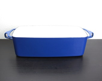 Vintage Dansk Kobenstyle 11.5 in Blue Loaf Pan, Baking and Serving Dish, Enameled Steel, France, Jens Quistgaard Mid Century Modern 170101