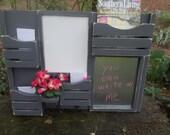Message Center-Dry Erase Board--Metalboard--Kitchen Decor--Mail Organizer--Magazine Holder