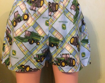 All sizes-John Deere print Womens Slumber Party, Lounge, Sleep Shorts, Play Shorts, Boxers.