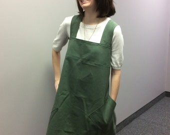 Cross back apron, Japanese style utility apron, size small, no ties, pinafore, smock FREE SHIPPING in USA
