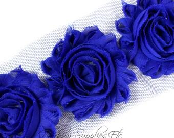 Royal Blue Shabby Rose Trim 2-1/2 inches - Royal Blue  Shabby Flowers, Royal Blue Fabric Flower, Royal Blue Hair Flowers, Royal Blue Flowers