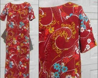 Vintage Hawaiian Dress MuuMuu - Red Short Sleeve Corded Cotton 1960s KAREN ANN Hawaii Label