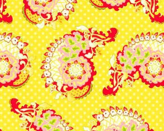 Heather Bailey - Pop Garden - Paisley in Yellow - cotton quilting fabric BTY