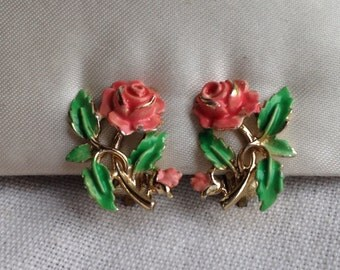 Rare Vintage EXQUISITE Rose Enamel Birthday Earrings - June