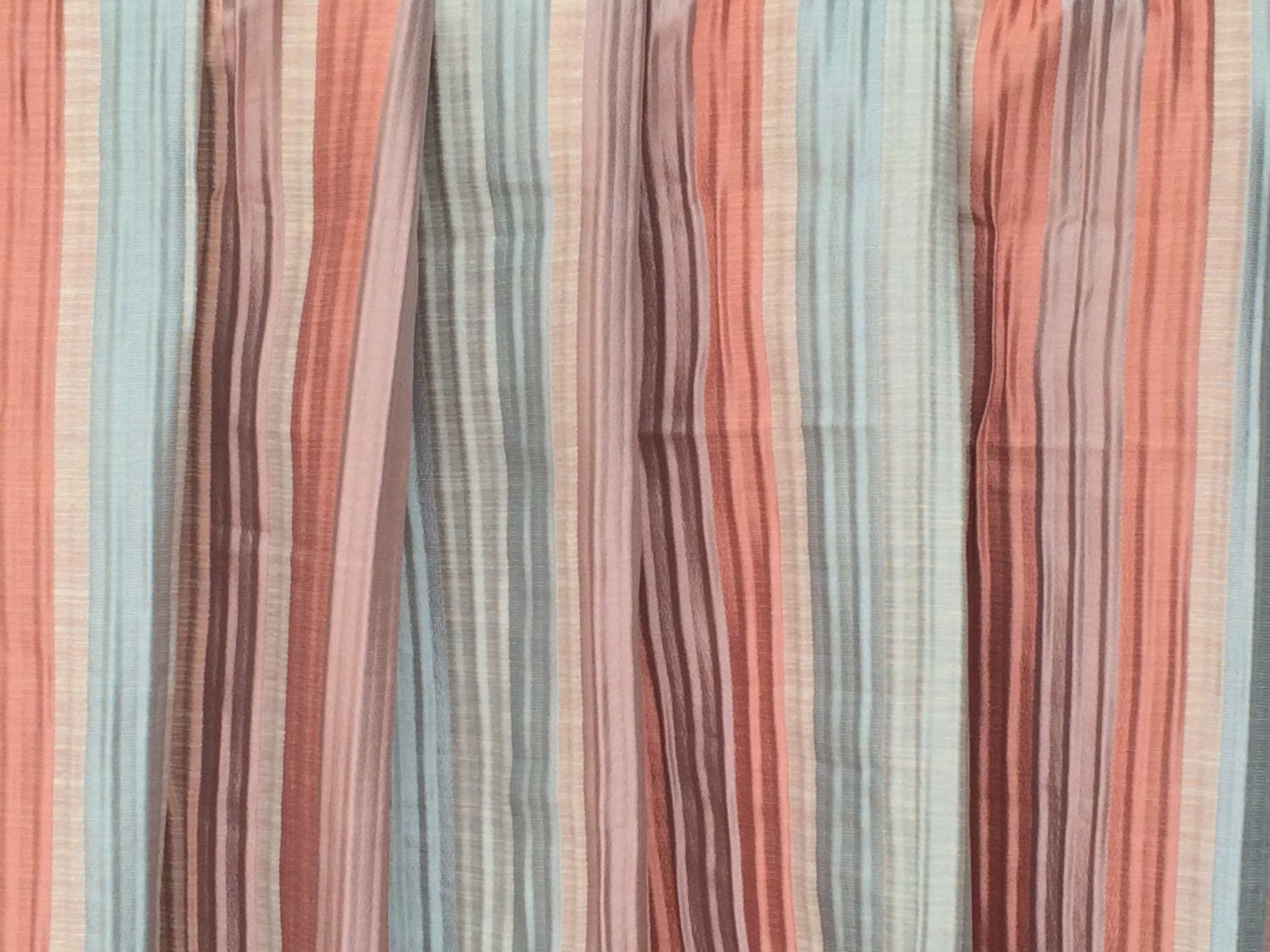 Peach And Teal Stripes Curtain Fabric By The Yard Upholstery ...
