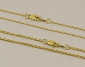 """Solid 14k, 18k Yellow Gold Cable Chain - 1.1mm OR 1.5mm Chain Links Sizes. Lobster Clasp. Available in 18"""" & 16"""" as well as custom lengths."""