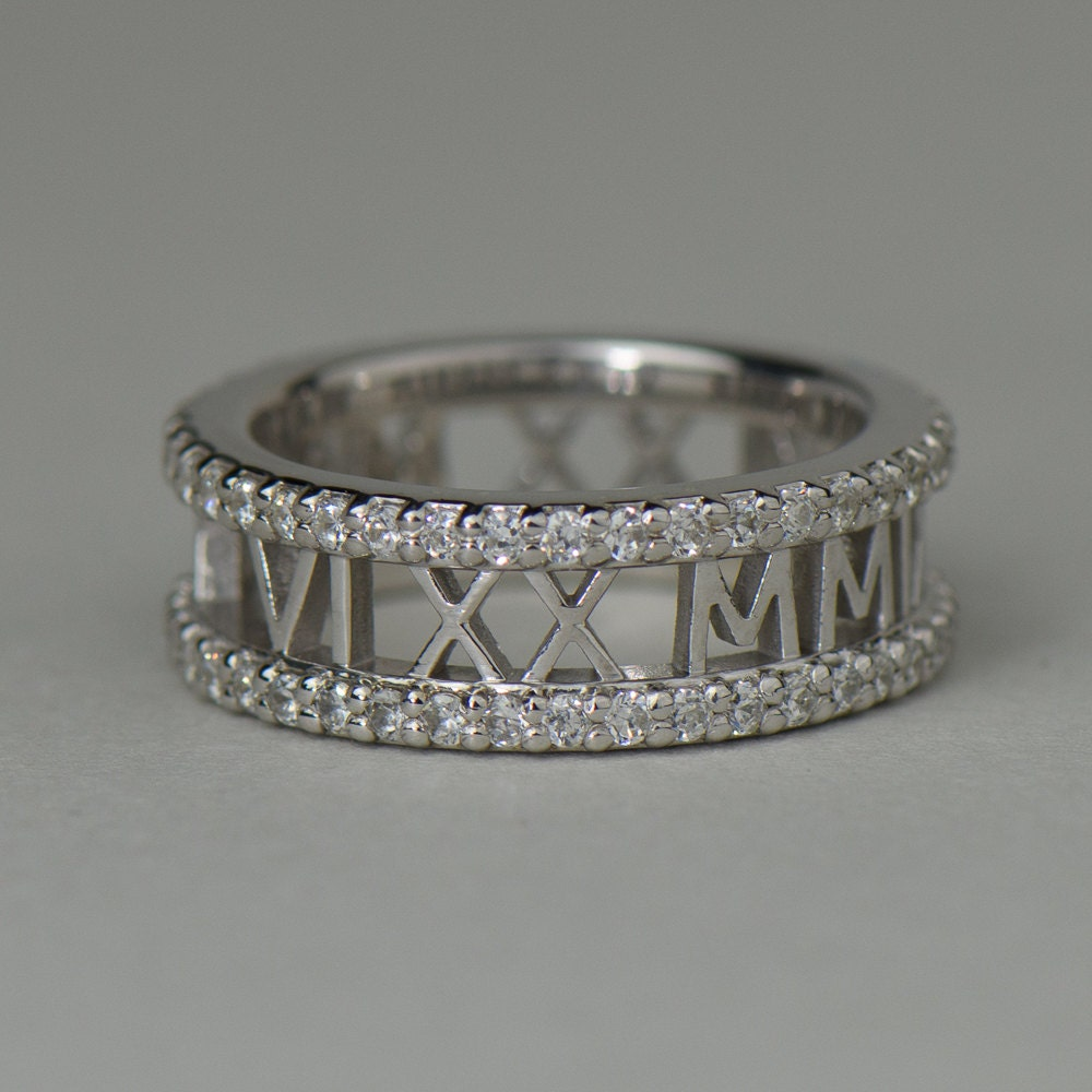 Roman Numeral Wedding Bands: Roman Numeral Ring With Diamond Eternity Bands Solid Gold In