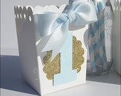 First Birthday Party Favors, Boys, Baby Blue Number One, Popcorn Boxes, Gold Or Silver Glitter, Candy Box, Dessert Table Decor, Set Of 12