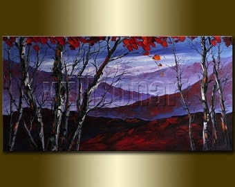 Autumn Birch Tree Forest Landscape Painting Oil on Canvas Textured Palette Knife Modern Original Art Seasons 20X40 by Willson Lau