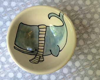 Whale Snack Bowl Small Bowl Children's Gift Whale Scarf Ceramics Cute Kids Pottery Present Handmade Whale in Scarf Illustration Sea Creature