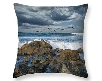 Pelicans over the Surf by Coronado Island in San Diego California No.0255 decorative novelty throw pillow Home Décor cushion cover