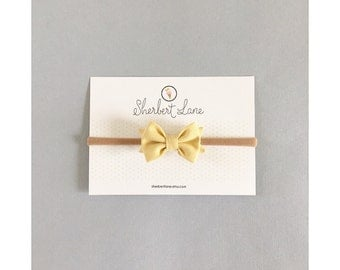 Baby Bow Headband - Mini Standard Bow - Mustard