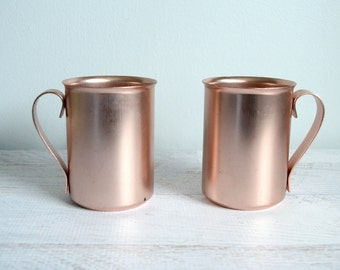 Vintage Moscow Mule Mugs, Copper Barware Set, Rose Gold Metal Drinking Cups, 1970s Barware