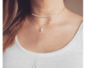 Small Choker Necklace/Rock Crystal choker/ Labradorite choker/ Small Gold Necklace/ gold necklace/ Gift for Her/ Gold Jewelry/Silver choker