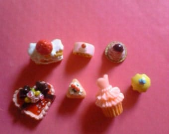 Kawaii cake cabochon decoden deco diy charm mix  Q   7 pcs---USA seller