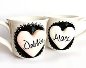 Personalized Couple Coffee Cups - Personalized Coffee Cups With Names - Personalized Coffee Mugs - Monogram Coffee Mugs - Heart Coffee Mugs