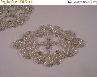 ON SALE Medallion Silver Beaded and Rhinestone Applique-One Piece