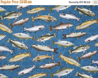 ON SALE Freshwater Fish Print Pure Cotton Fabric--One Yard