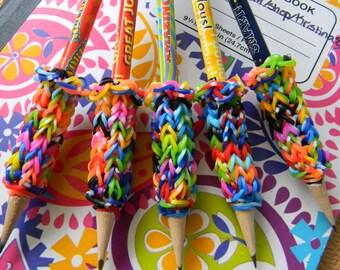 5 Removable Rainbow Loom Pencil Grips with Classroom Pencils - Motivational School Pencils - Nice Work! Great Job! Amazing! Fabulous! Smart