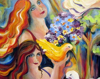 "Friends in the Garden Portrait Original Painting 24"" x 30"" Fine art by Elaine Cory"