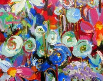 Abstract Original Painting 16 x 20 Garden Art Fine art by Elaine Cory