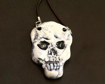 skull necklace, Porcelain Skull Pendant with Cord, silver-like findings with cord, skull Pendant