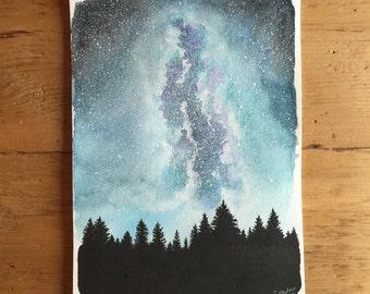 Arctic Milky Way - Original Milky Way Watercolor Painting