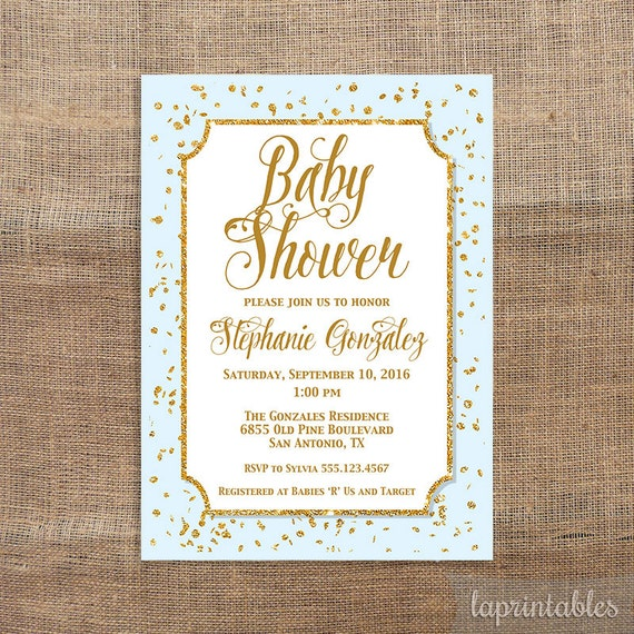 blue and gold baby shower invitation gold glitter confetti baby