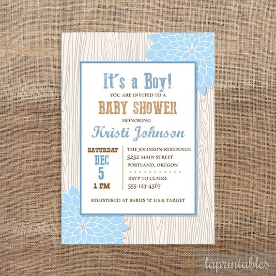 Mums Baby Shower: Rustic Baby Shower Invitation Blue Mums Wood Invite Baby