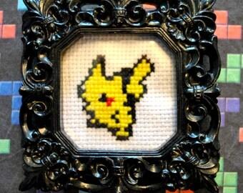 """Pikachu - Mini 3.5"""" Hand Cross Stitch"""