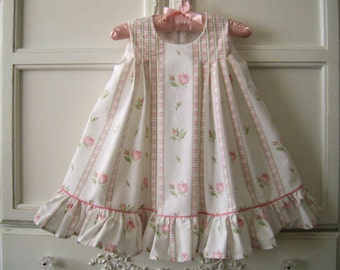 On Sale! Pink Stripes, Roses and Ruffles Toddler Dress Size 2, Country Wedding, Portrait, Swing Dress, One of a Kind, Reclaimed Textiles
