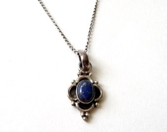 Sweet Sterling Silver and Lapis Necklace Bohemian Boho Pendant