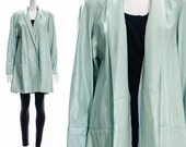 Vintage RARE Mint Green Soft Leather Retro Swing Jacket Princess Coat Trapeze Coat Trench Coat Roll Collar Cuff Sleeves Patchwork Panel M L
