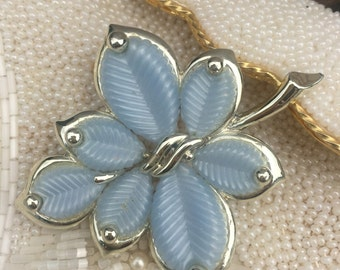 Vintage Marboux Leaf Brooch, Boucher Blue Lucite Pin, Estate Jewelry, Mid Century Costume Jewelry