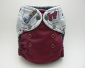 One Size Cloth Diaper - Hockey Embellished Waist with Burgundy PUL and Grey Microfleece