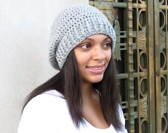 Crochet Slouchy Hat, Tam, Gray Hat, Ribbed,Women, Men, Teen, Tam,  Adult,