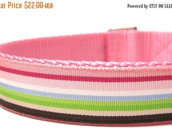 ON SALE Pink and Brown Stripes Dog Collar