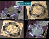 Lavender Silver Black Bracelet, Her Elastic Bracelet, Her Unique Bracelet, Mysterious Color Changing Lampwork Glass, Black Pearls,