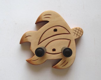 Ukulele wall mount hanger, hook, hand carved honu