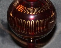 Vintage Cranberry and Gold Egyptian Style Perfume Bottle