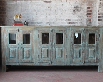 Large Sideboard Reclaimed Wood Media Console Distressed Turquoise Green Buffet Large Media Stand Dining Room Storage Boho Retail Display