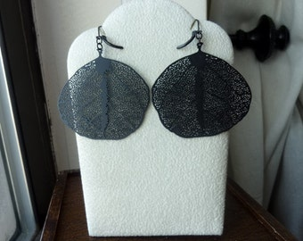 Matt Black Coated Pressed Leaf Earrings, Large, Bold