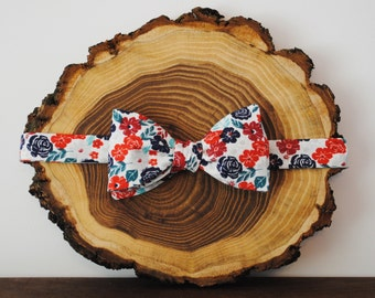Red, White & Teal Floral Bow Tie | Self Tie or Pre Tied | Mens Bow Tie | Kids Bow Tie | Pocket Square | Wedding Bow Tie | Mens Gift Idea