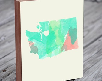 Seattle Art - Seattle Map - Seattle Print - Wood Block Art Print